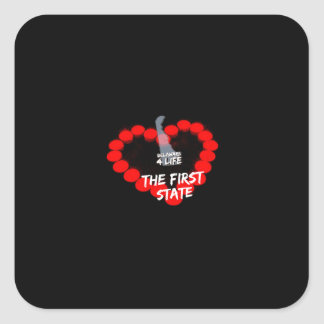 Candle Heart Design For The State of Delaware Square Sticker