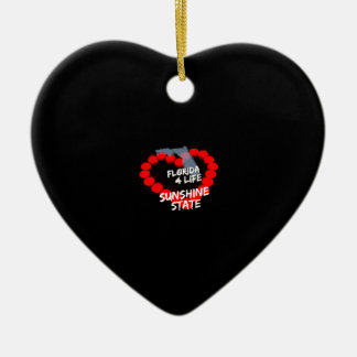 Candle Heart Design For The State of Florida Ceramic Heart Ornament
