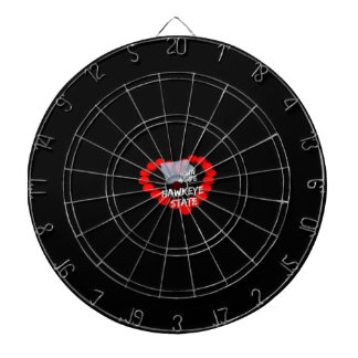 Candle Heart Design For The State of Iowa Dartboard