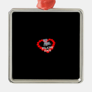 Candle Heart Design For The State of Louisiana Silver-Colored Square Ornament