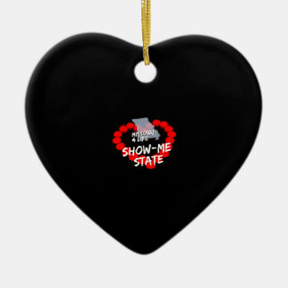 Candle Heart Design For The State of Missouri Ceramic Heart Ornament