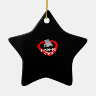 Candle Heart Design For The State of Missouri Ceramic Star Ornament