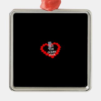 Candle Heart Design For The State of Rhode Island Metal Ornament