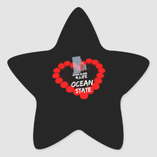 Candle Heart Design For The State of Rhode Island Star Sticker