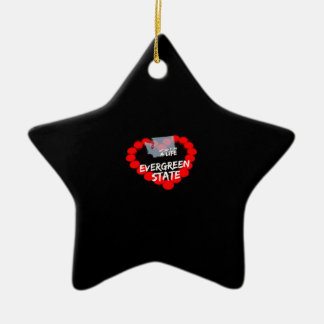 Candle Heart Design For The State of Washington Ceramic Star Ornament
