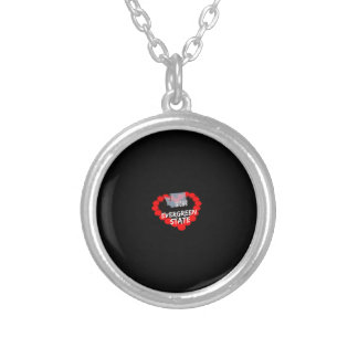 Candle Heart Design For The State of Washington Silver Plated Necklace
