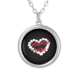 Candle Heart Design For Vernon, Texas Silver Plated Necklace