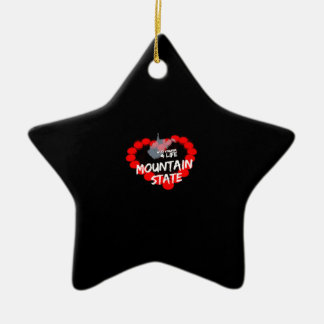 Candle Heart Design For West Virginia State Ceramic Star Ornament