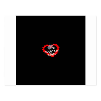 Candle Heart Design For West Virginia State Postcard