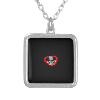Candle Heart Design For Wisconsin State Silver Plated Necklace