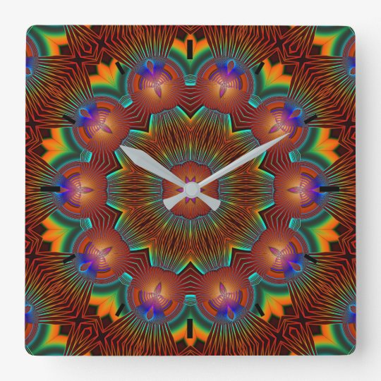 Candle Illuminated Bright Circle of Life Mandala Square Wall Clock