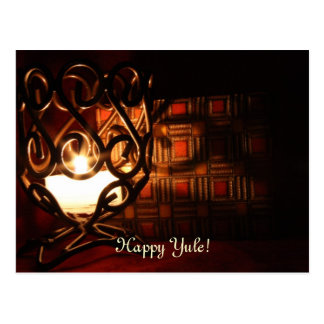 Candle Light Happy Yule Postcard