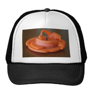 CANDLE ORANGE MELTED AND  BURNT OUT TRUCKER HAT