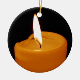 Candle Round Ceramic Ornament