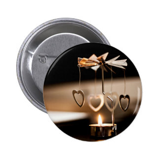 Candle Themed, A Candle Stand With Few Metal Heart 2 Inch Round Button