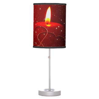 Candle with lit flame hearts red love desk lamps