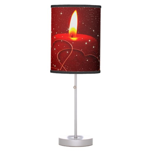 Candle with lit flame hearts red love table lamps