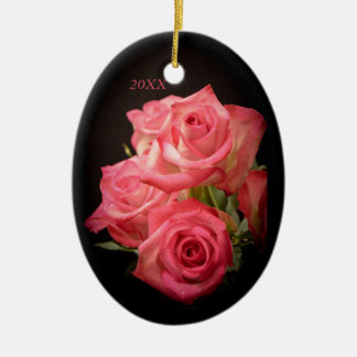 Candlelight Roses Ceramic Oval Ornament