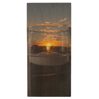 Candlelight Sunset Wood USB 3.0 Flash Drive