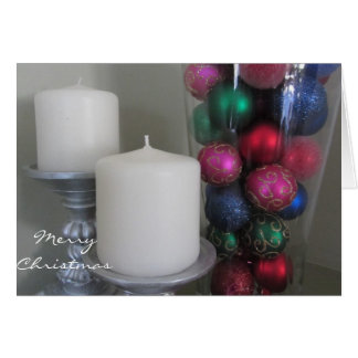 Candles and  Colorful Christmas Decorations Card