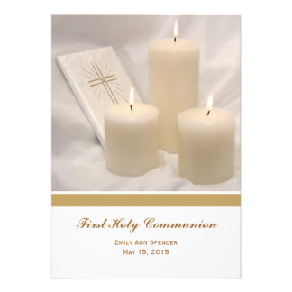 Candles and Prayer Book First Holy Communion Invite