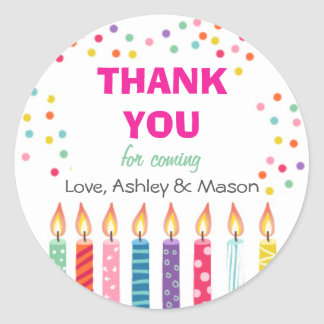 Candles Birthday Thank You Sticker Cupcake Topper