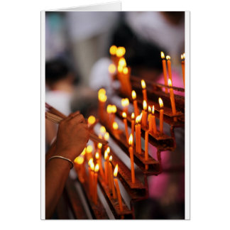 Candles burning inside Chinese Buddhist temple Card