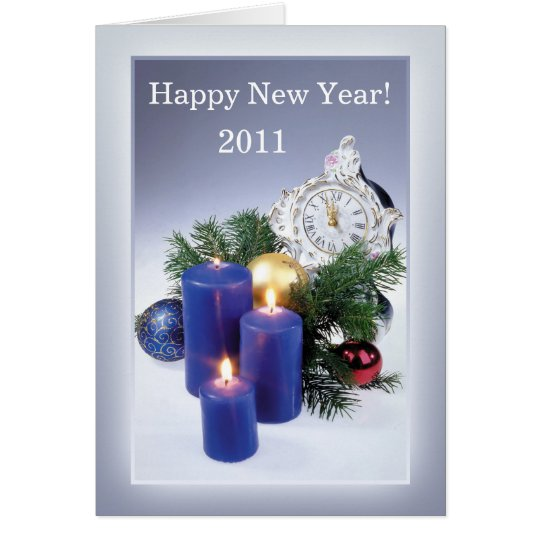 Candles, clock New Year Card