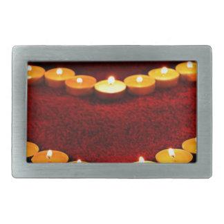 Candles Heart Flame Love Valentine Romance Fire Rectangular Belt Buckle