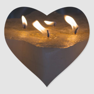 candles in the church heart sticker