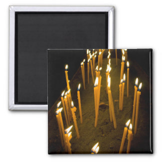 Candles lit in a church, Armenia Square Magnet