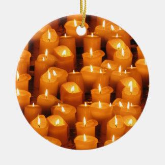 Candles Round Ceramic Ornament