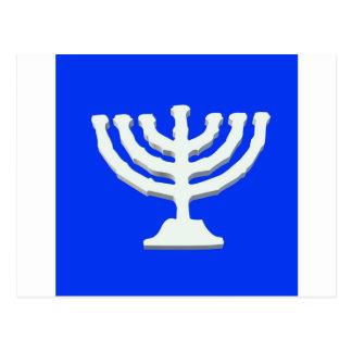 candlestick yarmulke menorah religion israel postcard