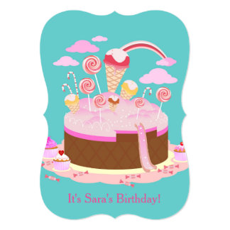 Candy and chocolate cake birthday party invitation