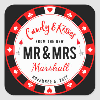 Candy and Kisses for the New Mr and Mrs Las Vegas Square Sticker