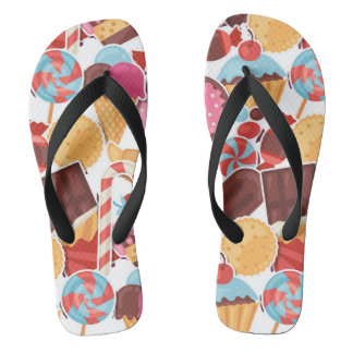 Candy and Pastries Palooza Seamless Pattern Flip Flops