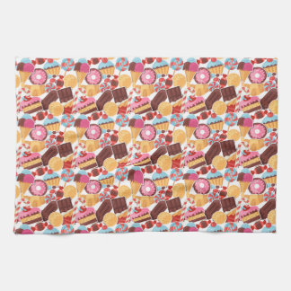 Candy and Pastries Palooza Seamless Pattern Kitchen Towel