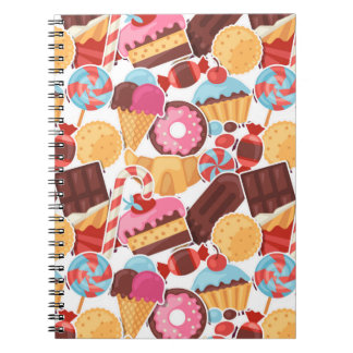 Candy and Pastries Palooza Seamless Pattern Notebook