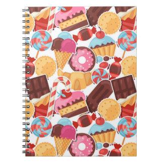 Candy and Pastries Palooza Seamless Pattern Notebooks