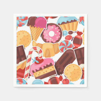 Candy and Pastries Palooza Seamless Pattern Paper Napkin