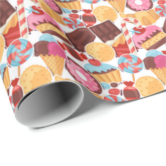 Candy and Pastries Palooza Seamless Pattern Wrapping Paper