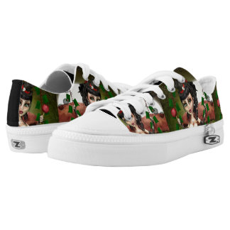 Candy Apple Doll Custom Art Zipz Low Top Sneakers