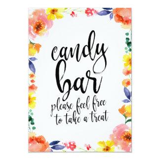 Candy Bar Affordable Boho Floral Wedding Sign Card