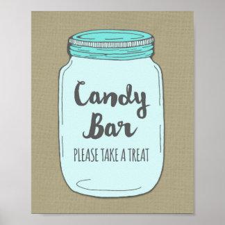 Candy Bar Baby Shower Sign Blue Mason Jar Burlap Poster