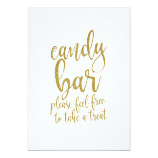 Candy Bar Gold Glitter Affordable Wedding Sign Card