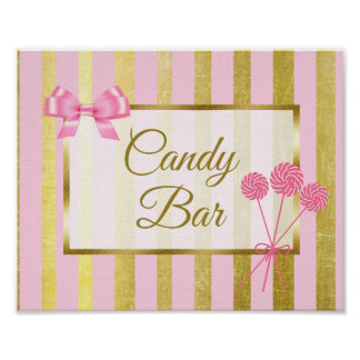 Candy Bar Sign Pink & Gold Poster