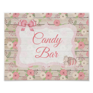 Candy Bar Sign Pink Rustic Wood Floral Poster