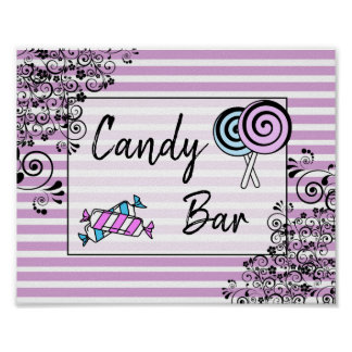 Candy Bar Wedding or Baby Shower  Sign Poster