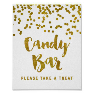 Candy Bar Wedding or Shower Sign Gold Confetti Poster