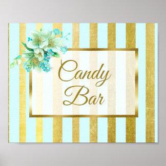 Candy Bar Wedding Sign Blue & Gold Poster